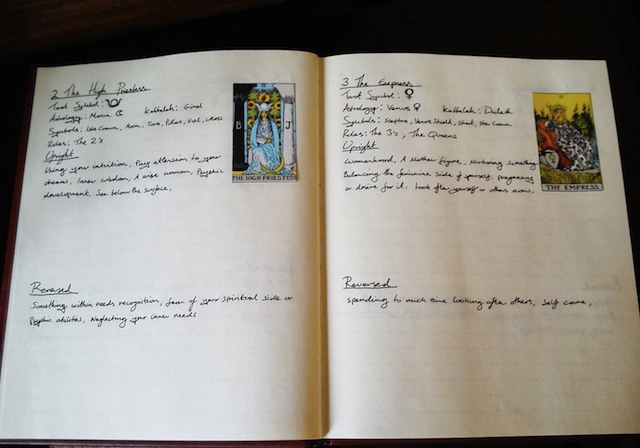 This paper tarot journal doesn't belong to Frances, but it does look pretty. (Via Seventh Element)