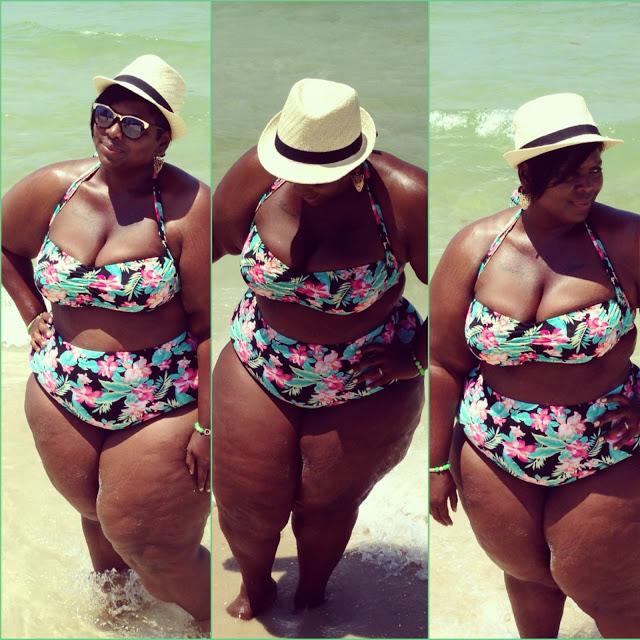 "Little City ""Big"" Fashion blogger Tiffany Todd showing off her Forever 21 fatkini via littlecitybigfashion"
