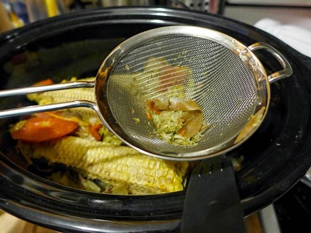 Vegetable scraps in a crock pot
