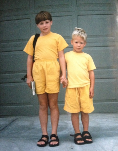 The first day of 4th grade, ft. l'il bro, bangin' haircut, and yellow for days.