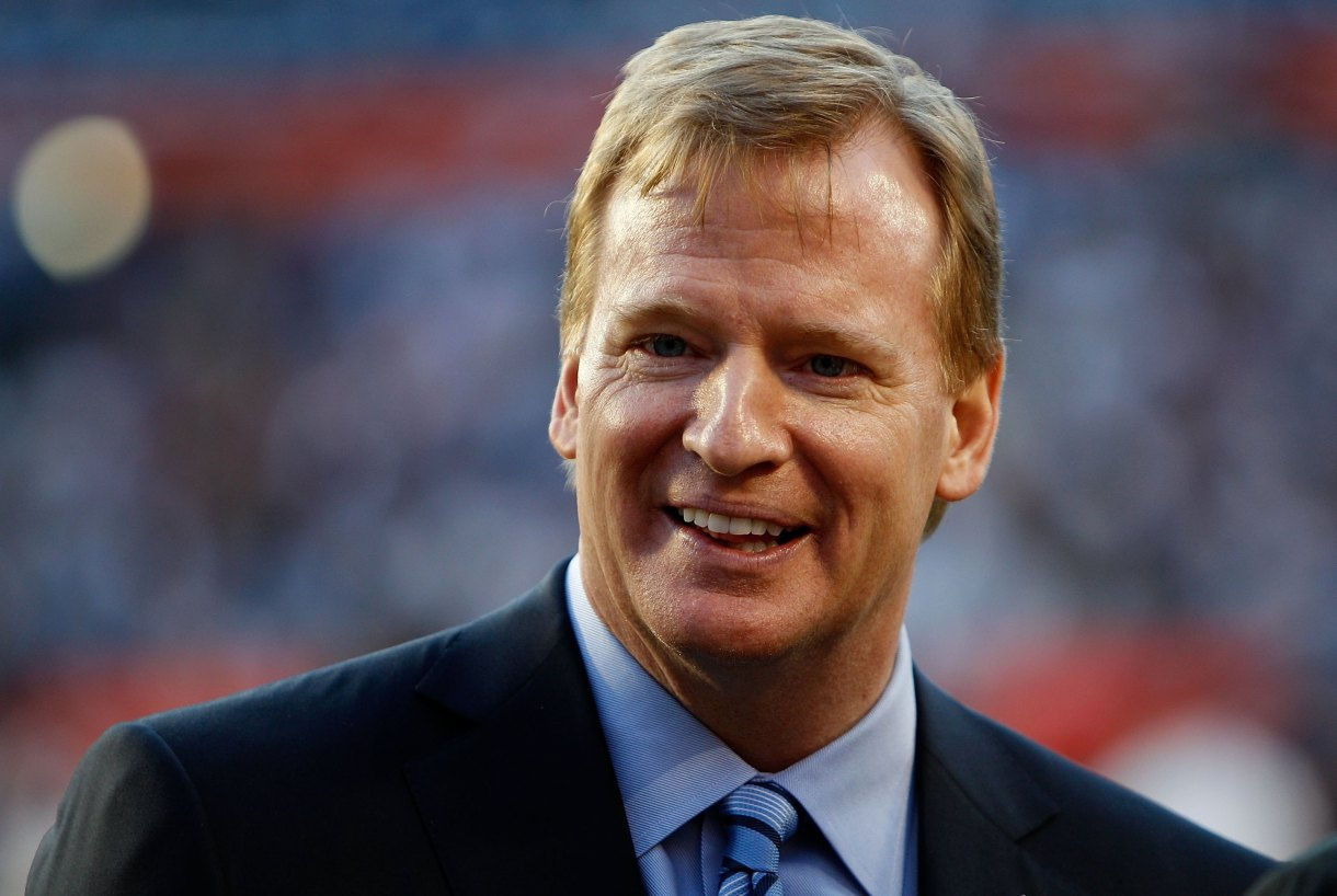 Roger Goodell shimmering with the glow of domestic violence prevention via Modvive