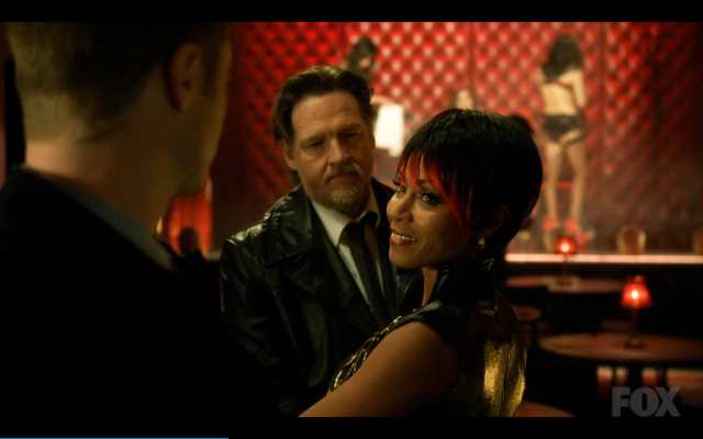 Fish Mooney checking out the fresh meat -- and milk