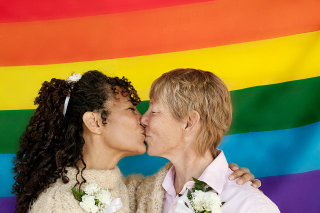 marriage equality lesbian couple kissing