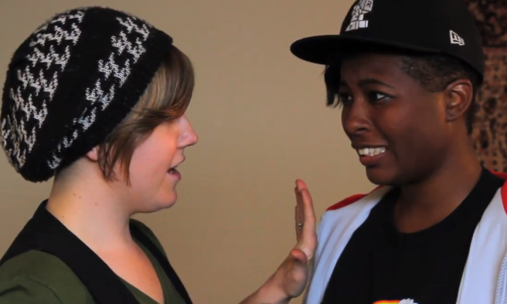 "Hannah Hart and Brittani Nichols in the ""Words With Girls"" webseries"