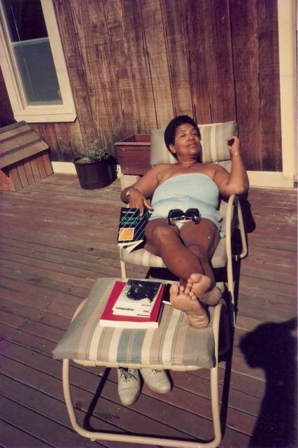 Audre Lorde kicking back. Via Audre Lorde The Wind is Spirit.