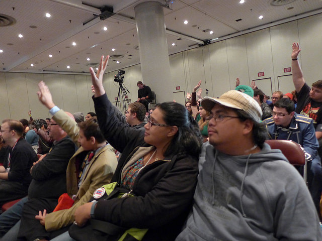 New York Comic Con 2014 Pop Culture Anti-Bullying Coalition Panel. Audience members respond as panelists ask: How many of you have ever been in a situation where you have watched people being bullied? How many of experienced bullying yourself due to your race? Gender? Perceived or actual sexual orientation?