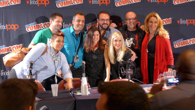 New York Comic Con 2014 Pop Culture Anti-Bullying Coalition Panelists, top row: Adam Hartley, Joe Gatto, Dr. Travis Langley, Matt Langdon, Chase Masterson. Bottom row: Eva Vega-Olds, Carrie Goldman, Ashley Eckstein.