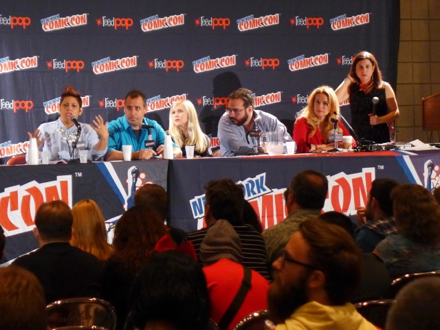Eva Vega-Olds speaks at the 2014 New York Comic Con Pop Culture Anti-Bullying Coalition Panel.