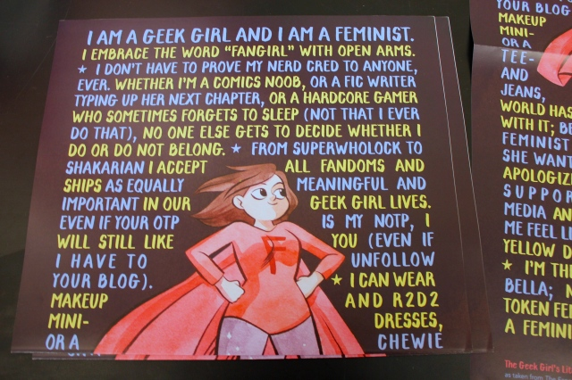New York Comic Con 2014. Free posters being given out at The Mary Sue's Geek Girl Headquarters.