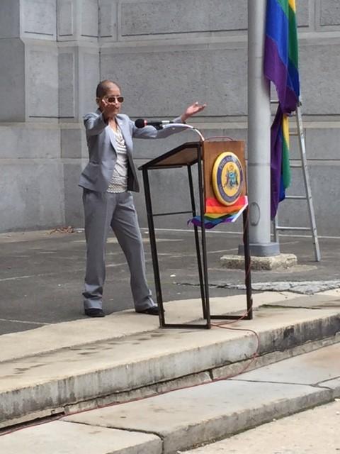 Casarez speaks at the 5th Annual City LGBT History Month Celebration via