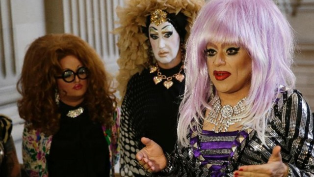 San Francisco based drag queens Lil Ms. Hot Mess, Sister Roma and Heklina at a meeting with City Hall Sept 17th.