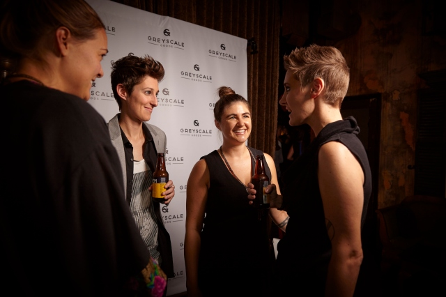 Sara Medd chatting with Robin Roemer and 2012 Calendar Girls Kelli Griggs and Ashley LaRocque. Photo via Sara Tollefson.