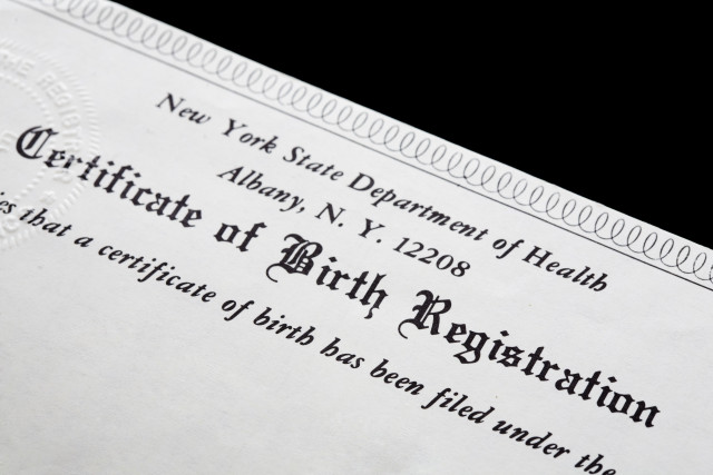 A New York State Certificate of Birth Registration