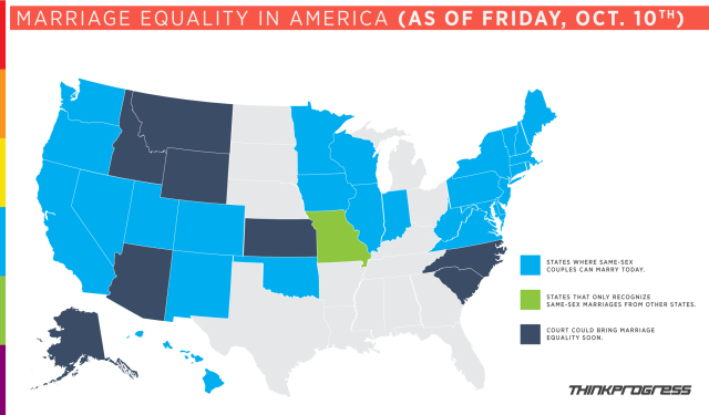 A beautiful map ThinkProgress made for us Friday morning was outdated by Friday night. Oops! Add North Carolina and Idaho to the light blue category. Via ThinkProgress