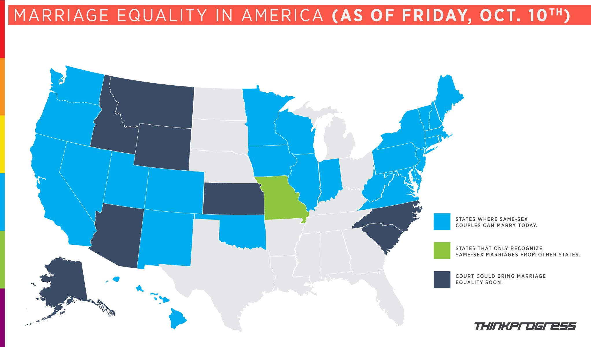 a beautiful map thinkprogress made for us friday morning was outdated byfriday night oops. what the heck is going on everywhere a marriage equality
