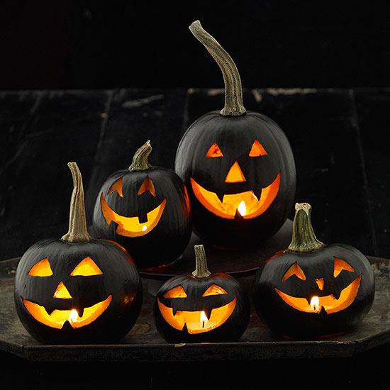 black carved pumpkins