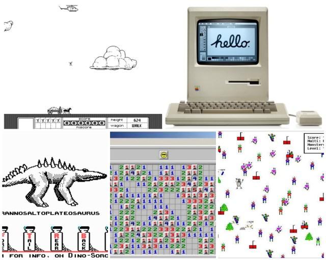 Old computer/computer games: Stuntcopter, Macintosh Plus, DIno Sorcerer, Minesweeper, SkiFree.