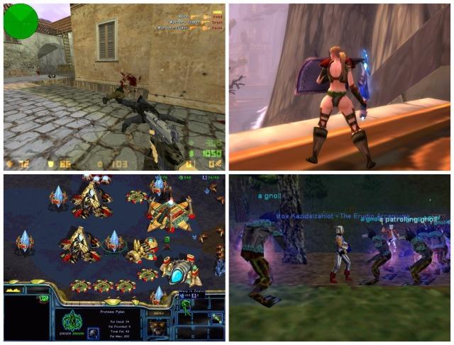 Old games: Counter Strike, World of Warcraft, Starcraft, Everquest.