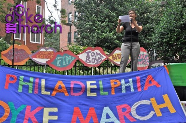 Casarez rallies the 2012 Dyke March.