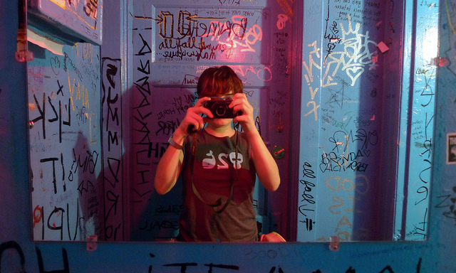 via Lily Monster 1 of 2 heavily grafitti'd bathrooms at the Lex