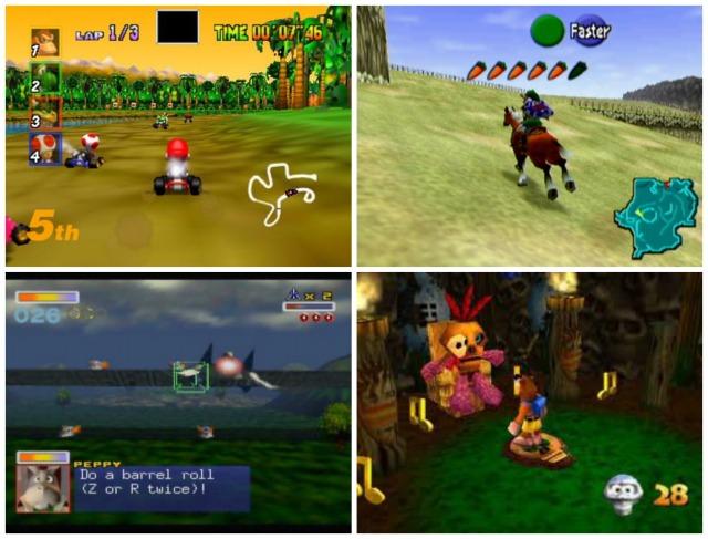 Old games: Mario Kart 64, Zelda: Ocarina of Time, StarFox, Banjo Kazooie.