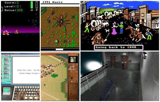 Old games: Spectre, Sim Ant, Oregon Trail, Mavis Beacon Teaches Typing, Pharaoh, Resident Evil.