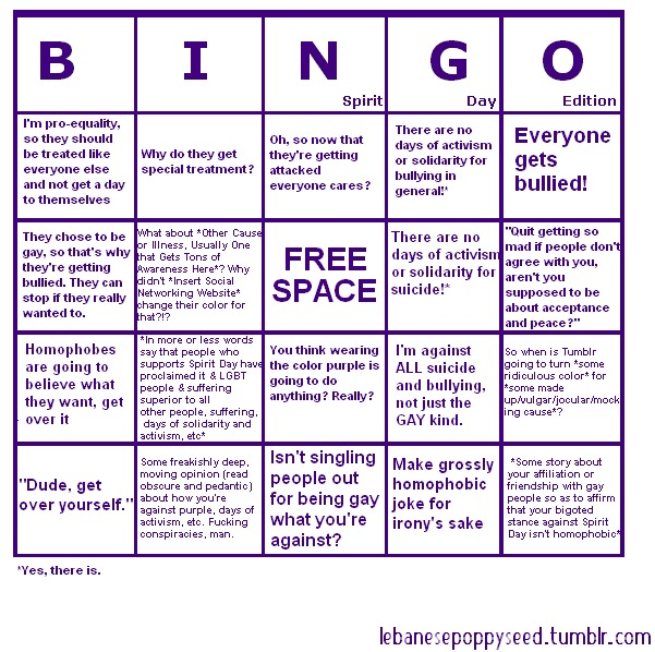 Spirit Day Bingo Board.
