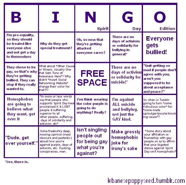 Spirit Day Bingo Board.