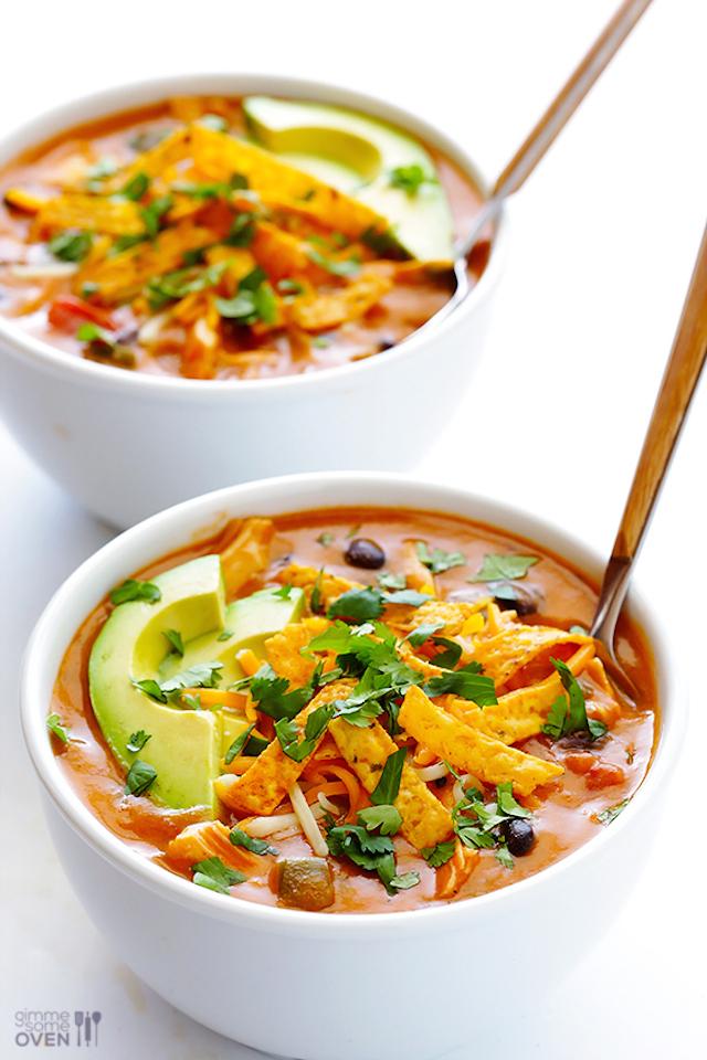 20-Minute Cheesy Chicken Enchilada Soup