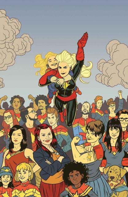 The Carol Corps on the cover of Captain Marvel #17 art by Filipe Daniel moreno De andrade