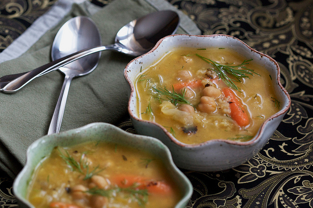 Chickpea Rice Soup with Cabbage