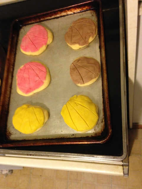 We made conchas, which is a traditional design that looks like sea shells.
