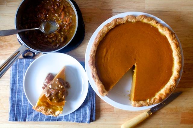Pumpkin pie with pecan praline sauce