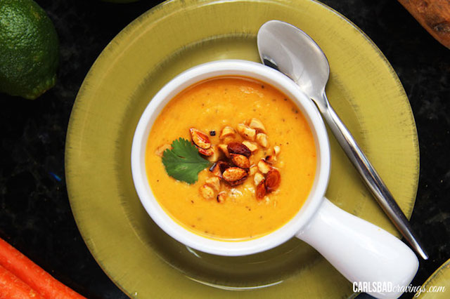 ... Squash, Sweet Potato, Carrot Soup with Roasted Honey S riracha Squash