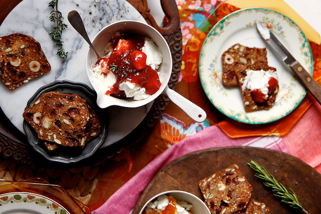 Warm herb jam and goat cheese spread