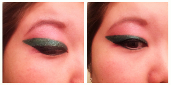 black liner glitter green