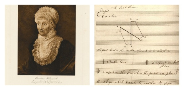 Left: Caroline Lucretia Herschel, from an oil painting by Tielemann, 1829. Right: A page from Caroline's music book showing conducting patterns and notes on music notation. Via Yale Library.