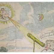 A cartoon poking fun at Caroline Herschel. It's a comet baby farting.