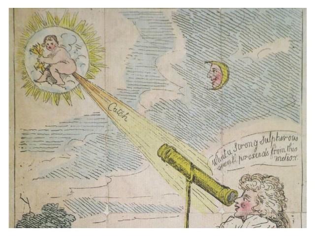 A cartoon poking fun at Caroline Herschel. It's a comet baby farting.