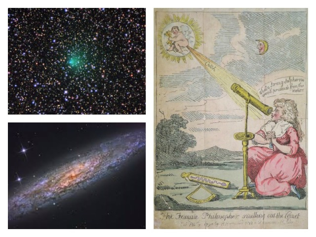 "Top Left: Comet 2P Encke, a periodic comet which Caroline observed on November 7, 1795. Image via Cometography. Bottom Left: NGC 253, which Caroline discovered. Image via NASA. Right: A comic poking fun at Caroline ""smelling out"" a comet. At the time of its publishing, she was by far the most famous female astronomer in the world."