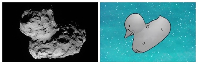 "Comet 67P/Churyumov-Gerasimenko, the ""singing"" comet. Images via ESA. ESA has a really cute and easy to understand animated video about Philae and Rosetta on YouTube."