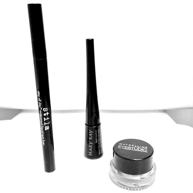 Left to Right: stila Stay All Day Waterproof Liquid Eye Liner, Mary Kay Liquid Liner (discontinued but you can buy online), Maybelline Lasting Eye Studio Drama Gel Liner in Blackest Black