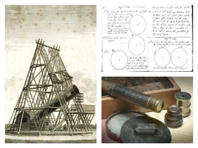Left: Engraved illustration of the Herschel's 40 foot telescope, first published in Philosophical Transactions, 1795. Right: Caroline's notes on her first comet discovery, and her lightweight sweeper telescope. Via Arxiv.