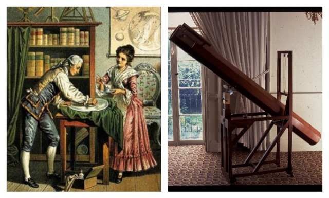 Sometimes Caroline used to spoon feed William while he was working, to make sure he didn't pass out. Left: A Victorian colored lithograph of the Herschels at work, 1890. Right: Replica of the Herschel's seven foot telescope via Herschel Museum.