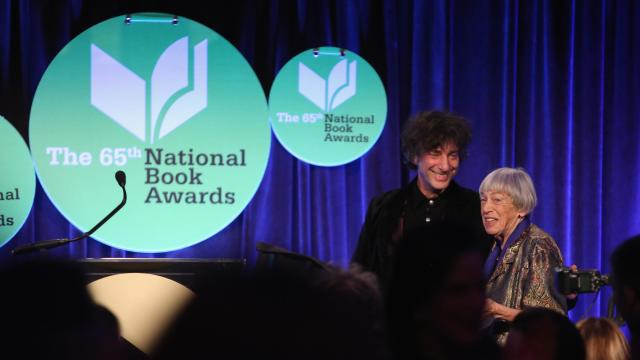 Neil Gaiman, left, introduces Ursula Le Guin at the 2014 National Book Awards. Robin Marchant/Getty Images