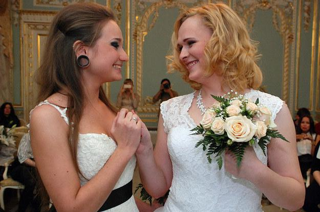 Russian couple Irina Shumilova and Alyona Fursova via http://instinctmagazine.com/post/same-sex-couple-legally-marries-russia-causes-outrage
