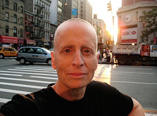 self-portrait in setting sun by Leslie Feinberg