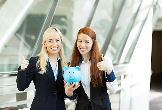 two women piggy bank