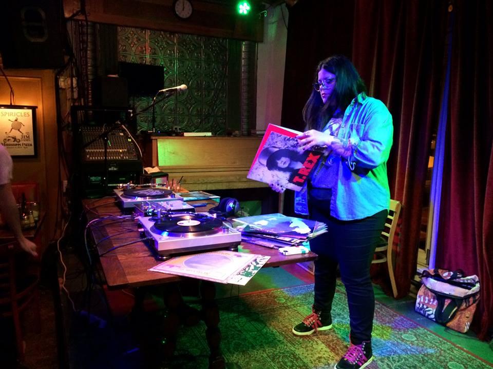 The makeshift DJ booth at Temporary Lesbian Bar