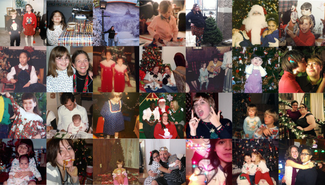 1st row, L to R: Carolyn and brother in 1995, Cecelia with menorah in 2001, Laura and sister in 2005, Chelsey in 1994, Mey in 2013, Hannah, sister and Santa in 1995, Alex Vega with a dinosaur in the land before time 2nd row, L to R: Robin in 1995, Maddie and her grandma in 2001, Brittani and Christin in 1994, Bren and mother with Chopper, Stump and Bones in 2012, Laneia and her mother in 1987, KaeLyn in 1985, Alley and Nicole in 2010 3rd row, L to R: Carmen in the days of yore, Stef at Passover during a bygone era, Riese at her grandparents' with a new present in 1984, Lydia with friends and Santa in 2013, Audrey in 2008, Cee in the 1980s, Mari and her partner in 2013 4th row, L to R: Kaitlyn and sister in 1996, Heather and Audrey Madeline in 1985, Raquel and dad in 2006, Yvonne in 2012, Rachel in 1994, Gabby and Laura in 2013